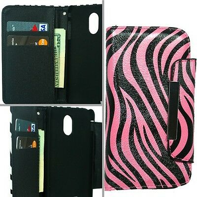 PINK ZEBRA PU LEATHER WALLET POUCH CASE SAMSUNG GALAXY S2 EPIC TOUCH D710 +COMBO