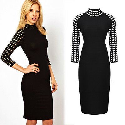 Women Sexy Eyelet Hollow Out Stand Collar Long Sleeve Bodycon Pencil Dress M