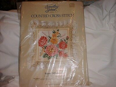 SOMETHING SPECIAL (Peony Eyelet Lace Pillow) COUNTED CROSS STITCH KIT