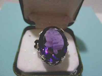 Vintage Amethyst and 24k Sterling Silver Cocktail Ring;17-19mm stone;size 5