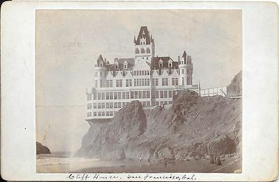 CABINET CARD OF CLIFF HOUSE AND OLD MISSION SAN FRANCISCO CALIFORNIA
