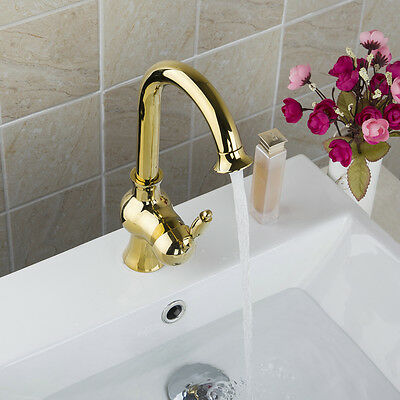 New Gold Finished Single Handle Hole Bathroom Basin Solid Brass Mixer Tap Faucet