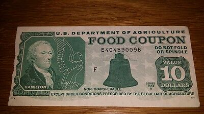 FOOD STAMP COUPON $10 1992 B DEPT OF AGRICULTURE USDA AUTHENTIC