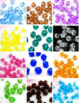 200Pcs Glass Crystal #Bicone Spacer Beads 4mm Mixed