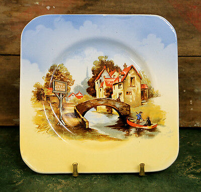 """Vintage 1930s Lancaster & Sons small square plates with """"Jolly Boatman"""" design"""