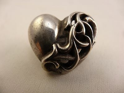 CHROME HEART Sterling HEART Pendant Reticulated 12g FREE SHIP