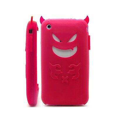 New Red Devil Silicone Case Rubber Cover & LCD Protector For Apple iPhone 3G 3GS