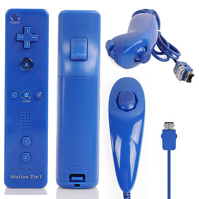 2X Deep Blue FOR Nintendo Wii U WII Game Controller Motion Plus Remote+ Nunchuck