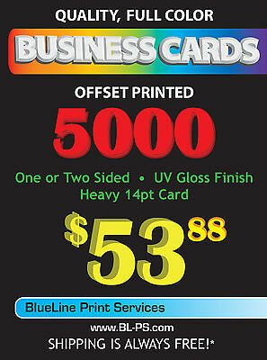 5000 Full Color 14pt Business Cards - 1 or 2 sided with UV Gloss and FREE SHIP!