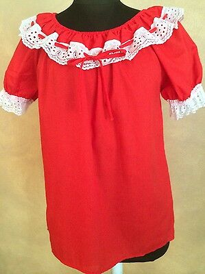 JERI BEE RED & WHITE LACE TRIMMED RUFFLED PEASANT BLOUSE - MEDIUM