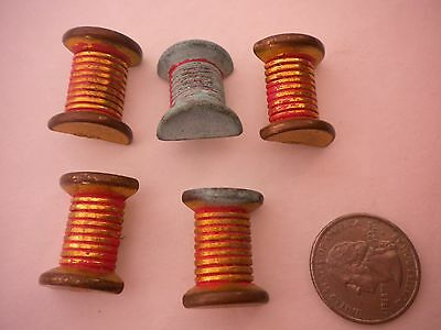 LOT OF 5 VINTAGE SEWING THREAD SPOOL BUTTONS IN GOOD CONDITION