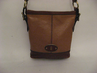 Fossil Vintage ReIssue VRI Camel Russet Brown Leather Top Zip Crossbody ZB5186