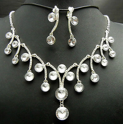 WBN106 Austrian Crystal Rhinestone Necklace Earrings set Bridal Bridesmaid Prom