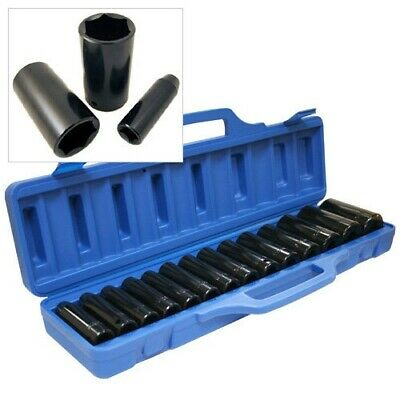 "15 PC 1/2"" DR CHROME VANADIUM STEEL DEEP IMPACT SOCKET SET + CASE 10mm 32mm CRV"