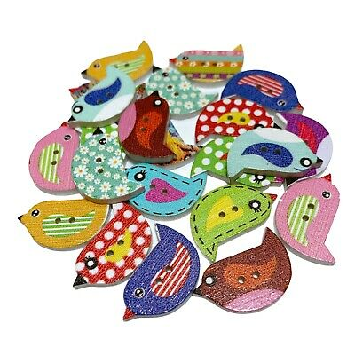 50 Wooden Mixed Bird Buttons - Craft - Scrapbook - Sew - Cards - Embellishments