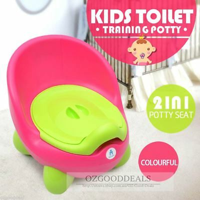 Kids Children Baby Toddlers Toilet Training Potty Seat Trainer Chair 2in1 Pink 2