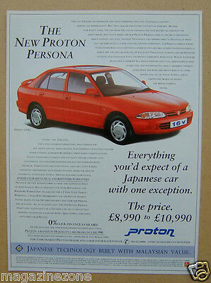 The New Proton Persona Priced Magazine Advert from 1994