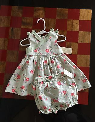 Nwt Girls Laura Ashley Green Floral Easter Church Dress & Bloomer Size 9 Months
