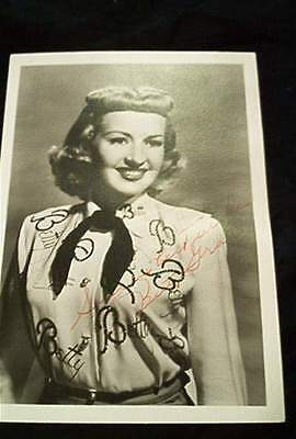Betty Grable 5 X 7 Autographed Photograph
