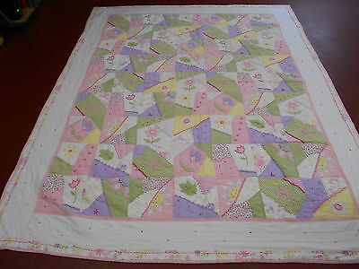 Exciting Pieced & Embroidered Crazy Quilt w/Frame Hand Quilted