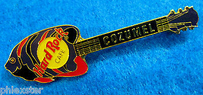 COZUMEL MEXICO RED BLUE & BLACK ANGEL FISH LEFT FACE GUITAR Hard Rock Cafe PINS