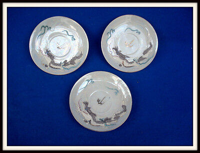 Lot of (3) Japanese Dragonware Moriage Lusterware Hand Painted Teacup Saucers