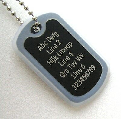 1 PERSONALIZED Dog Tag Necklace Horizontal Wording - Black with CLEAR Silencer