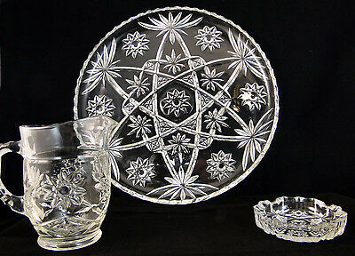 Anchor Hocking Early American Prescut Glass Star of David Lot of 3 Pieces