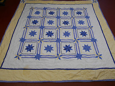 Eight Point Star Pieced Pattern Quilt Blue & Yellow on White w/ Ribbons