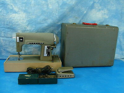 Vtg 1954 Sears Kenmore 117.580 Heavy Duty Sewing Machine Case Attachments Antiqu