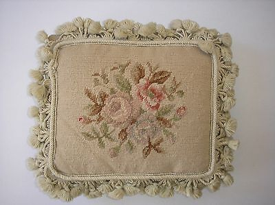 Needlepoint Petit Point Aubusson style Victorian Chic & Shabby Wool, Down Pillow