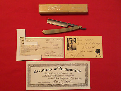 JH LONE RANGER OWNED W.R. CASE BRADFORD PA ANTIQUE STRAIGHT RAZOR w/ AUTOGRAPH