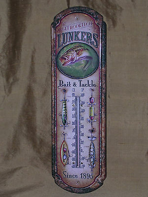 VINTAGE ANTIQUE STYLE LUNKERS FISHING LURES BAIT & TACKLE THERMOMETER TIN SIGN !