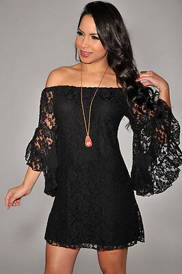 New Sexy Little Black Floral Off The Shoulder Dress mini lace club cocktail  M