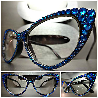 Women's VINTAGE 60's CAT EYE Style Clear Lens EYE GLASSES Blue Crystals Handmade