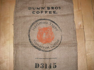 Dunn Bros Burlap Coffee Bag Rustic Decor Harimau Tiger Sumatra NO RESERVE