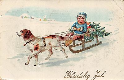 Lot of 2 Early/Vintage Danish Christmas Children Early 1900s Postcards #36240