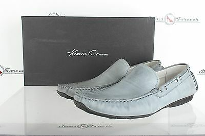 Mens KENNETH COLE NY stylish gray / blue leather loafers shoes sz. 8.5 M NEW!