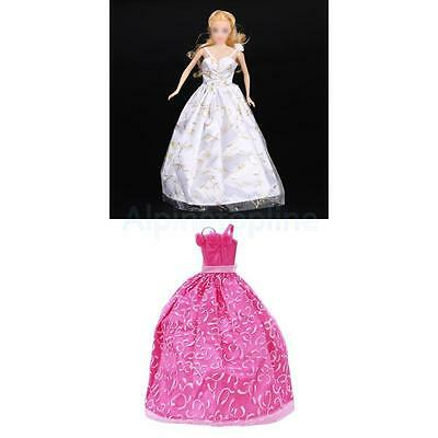 2pcs White+Pink Mini Princess Wedding Gown Dress Outfit Clothes for Barbie Doll