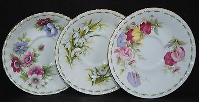 3x Royal Albert Saucers - Flower of the Month Series JANUARY, MARCH, APRIL