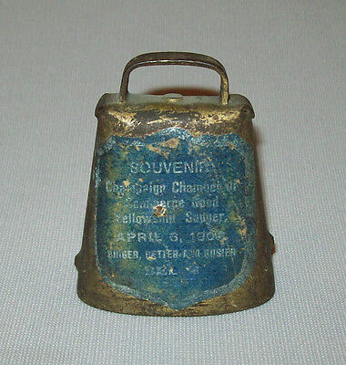 ANTIQUE VTG 1908 SOUVENIR COW BELL CHAMPAIGN ILL GOOD FELLOWSHIP SUPPER W/ LABEL