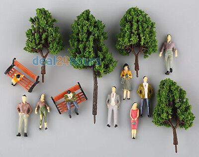 16 Multi Scale Model Trees + 100 People Figures +5 Bench Train Diorama Scenery O
