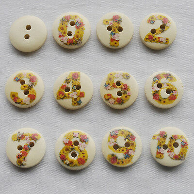 100pcs Mix Color Number 0-10 Wood Button Craft Sewing 2 Hole 15x15mm NK138