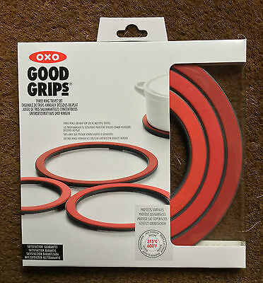 Oxo Good Grips Three Ring Trivet Set In Red Use Together Or Apart Protects