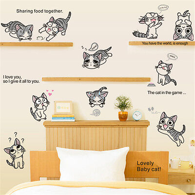 Chi's Sweet Home Cheese cat Removable Kids Baby Bedroom DIY Decals Wall Stickers