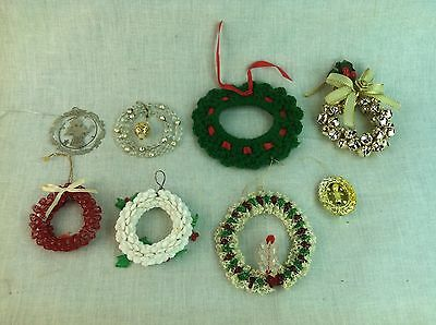 Mixed lot of Christmas wreath tree ornaments beads, bells, lace, yarn, silver