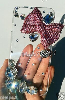 """3D bow iPhone 6 (4.7"""") clear case bling crystals big diamonds cover hello kitty"""