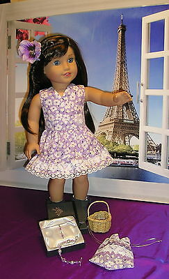 """Doll Clothes Fit 18"""" American Girl Doll Grace Dress/Jewelry/Gift Box/Accessories"""