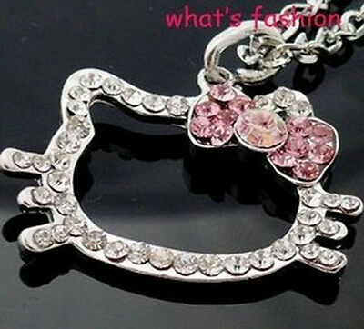 Cute Hello Kitty Face Necklace Crystal Bling Pink bow Classic Pendant 2013