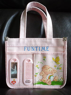 VINTAGE CHEER CARE BEAR PINK YOUNG GIRL'S PURSE COMB & MIRROR SET FUNTIME 1983